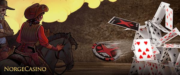 cowboy på en hest, flyvende kort og sjetong