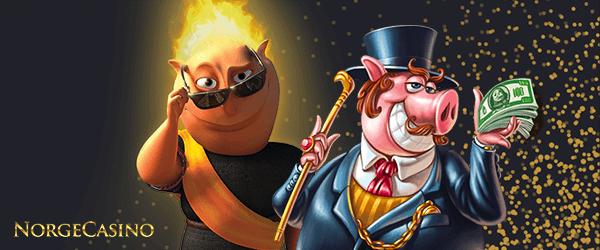 gris i dress og mann med flammer på hodet