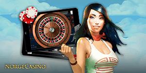 dame holder nettbrett med roulette
