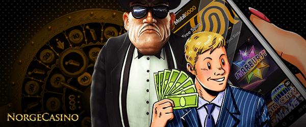 mann og gutt med penger
