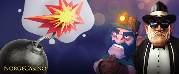 bombe, gruvearbeider og mann i dress