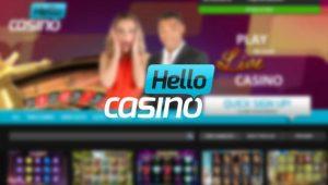 logo og bilde fra hello casino