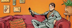 mann på en sofa i tegneserie