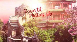 den kinesiske muren, kinesisk tempel, kirsebærblomster