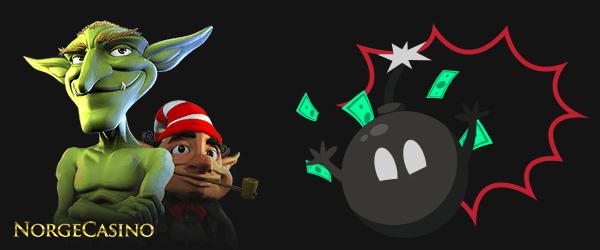 en bombe og en liten mann