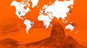 orange and white world map
