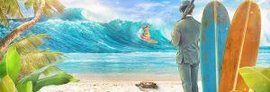 mrgreen ser på bølger med surfer