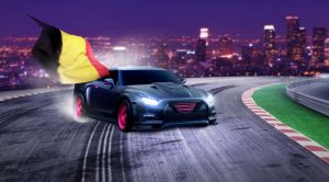 bil på natten med belgiske flagget