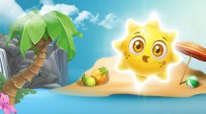 sol og en tropisk øy i animasjon