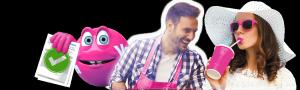 mann, dame og en rosa figur