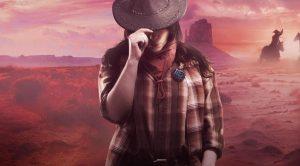 cowboydame ute i ørkenen