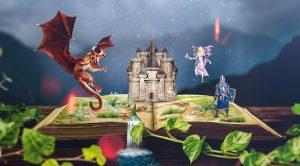 en drage, en ridder og en fe over en bok med et slott