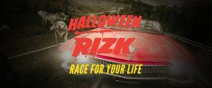 rød cabriolet, rizk maskot, halloween rizk tekst