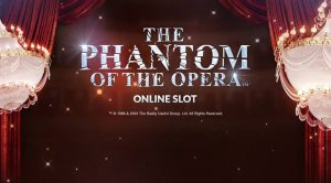 gardin fra teaterscene, to lysekroner, phantom of the opera tekst
