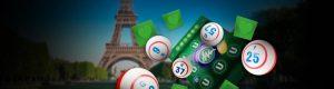 bingoballer, bingobrett og eiffeltårn bak