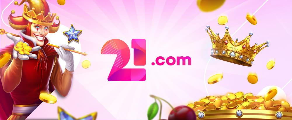 21.com free spins banner
